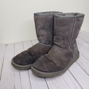 UGG Gray Short Length Sheepskin Boots